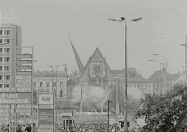 St Pauls Church Leipzig being blown up