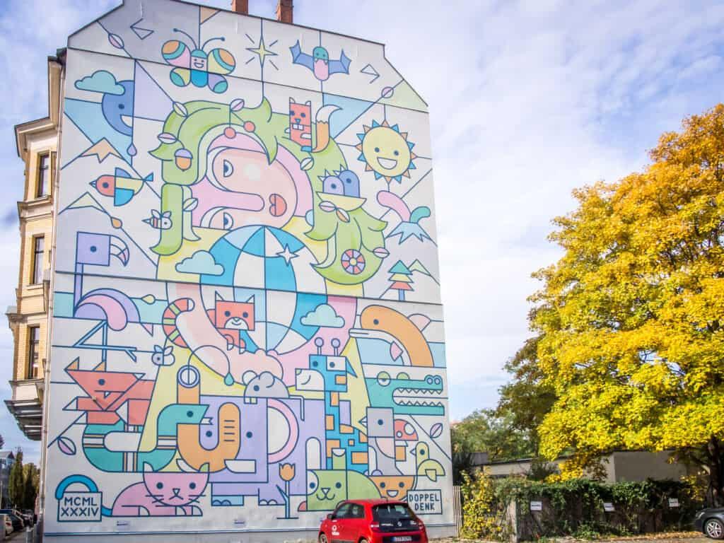 StreetArt Leipzig Doppeldenk www.leipzigfreetours.com